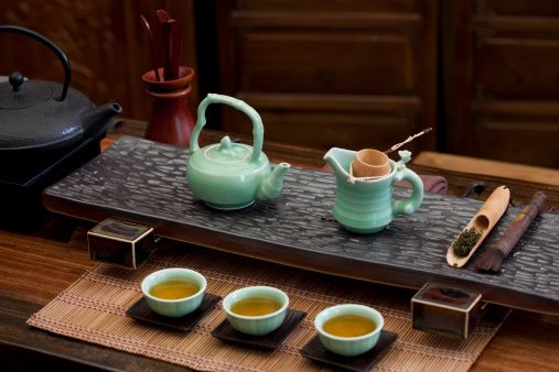 Traditional Chinese tea set in a tea room: