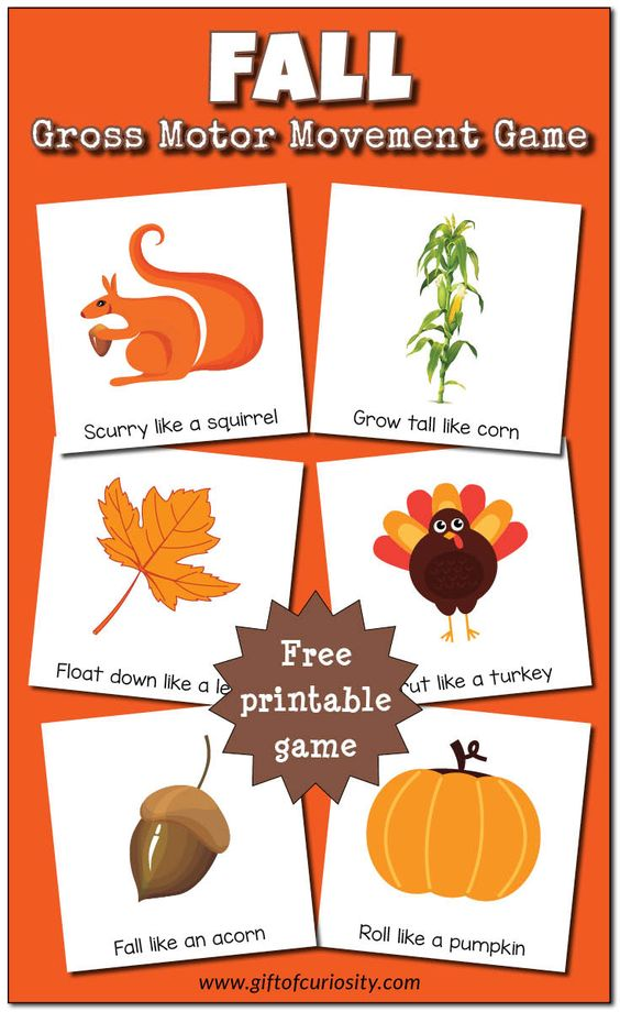 Free printable Fall Gross Motor Movement Game. What a fun idea for giving kids a movement break during the day!    Gift of Curiosity