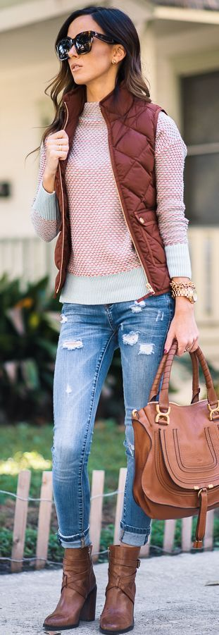 Tobacco Puffer Vest Fall Streestyle Inspo by Sequins & Things