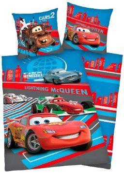 Herding 462922050412 Bettwäsche Disneys Cars, Kopfkissenbezug: 80x80 cm mit Knopfverschluß, Bettbezug: 135x200 cm mit Knopfverschluß, Biber ...