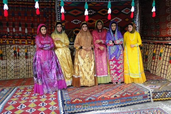Bakhtiyari Nomad Women in their traditional colorful Dresses.