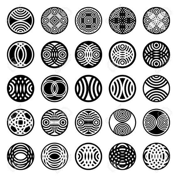 Printables Shape Design Patterns patterns in circle shape 25 design elements set 1 vector art art