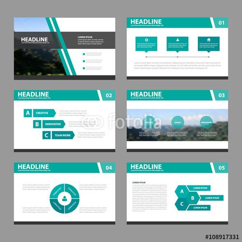 Green orange presentation template Infographic elements flat - marketing presentation