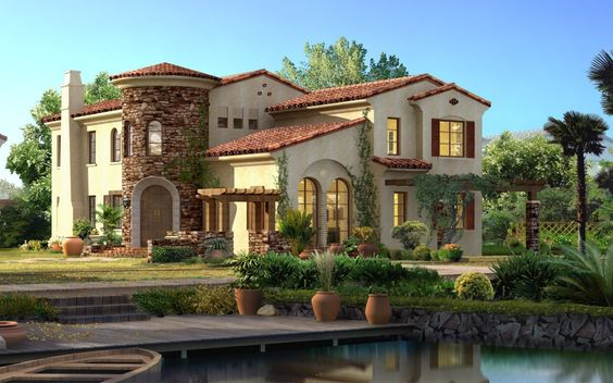 cream, stone, brown shutters: