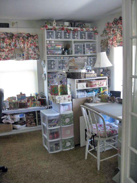 Lori 39 s shabby chic craft room scrap room so organized for Shabby chic craft room