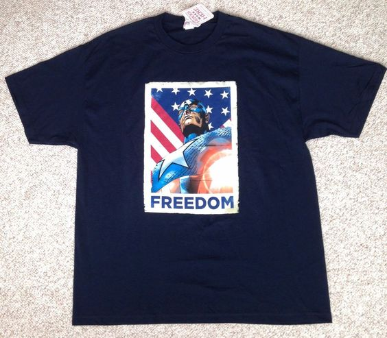 "Mens(XXL) CAPTAIN AMERICA ""FREEDOM"" T-SHIRT Navy-Blue American Flag Marvel Comic #Disney #GraphicTee"