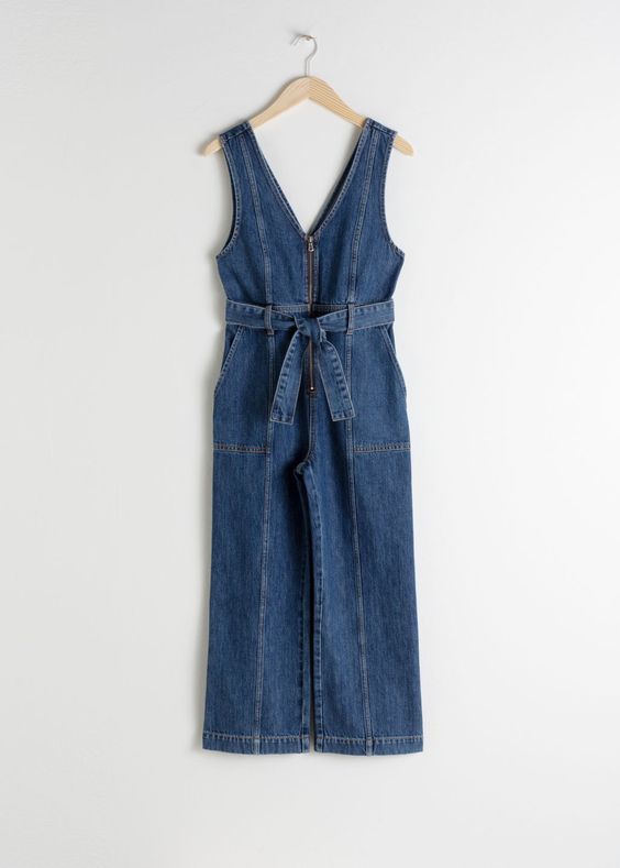 Belted Denim Jumpsuit - Blue - Jumpsuits & Playsuits - & Other Stories