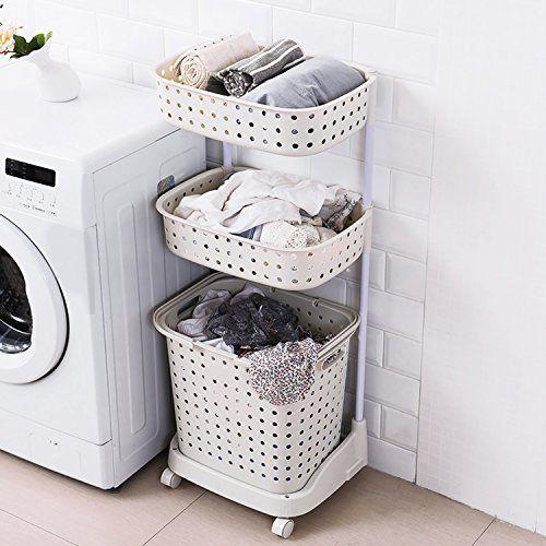 H A Rolling Laundry Basket Heavy Duty Sorting Hamper Fold Https
