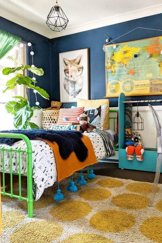 海外 子供部屋 インテリア カラフル ブルー 壁 腰壁 アイデア