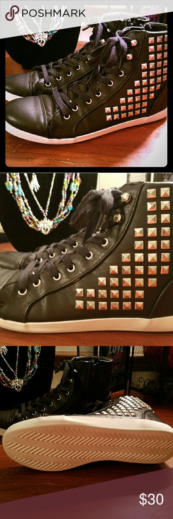 Studded high tops Leather studded High tops. Worn twice then stored. It is missing 1 of the silver studs. Other than that they are in perfect condtion. Purchased Kohls online. They are considered unisex. Sugar  Shoes