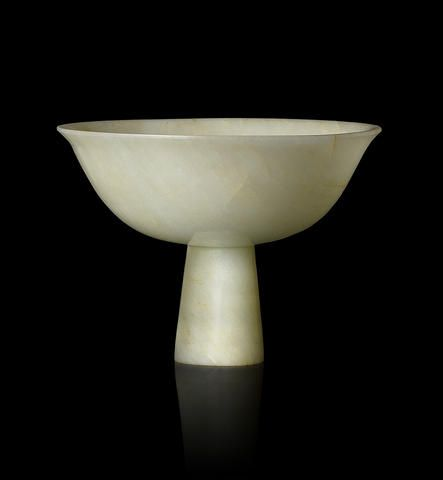 A pale green jade stem bowl, 15th century. Sold for HK$ 562,500 (€59,029).