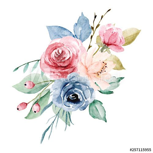 Watercolor Flowers Peonies Roses Leaf Hand Drawing Floral Design Bouquet Perfectly For Holida Loose Watercolor Flowers Watercolor Flowers Floral Watercolor