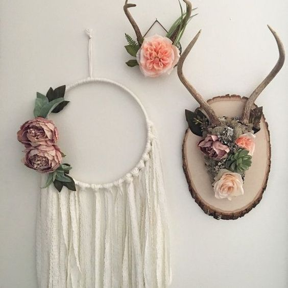 Floral antlers shabby chic wall decor bohemian by gypsydaydream floral bedroom decor - Diy bohemian wall art ...