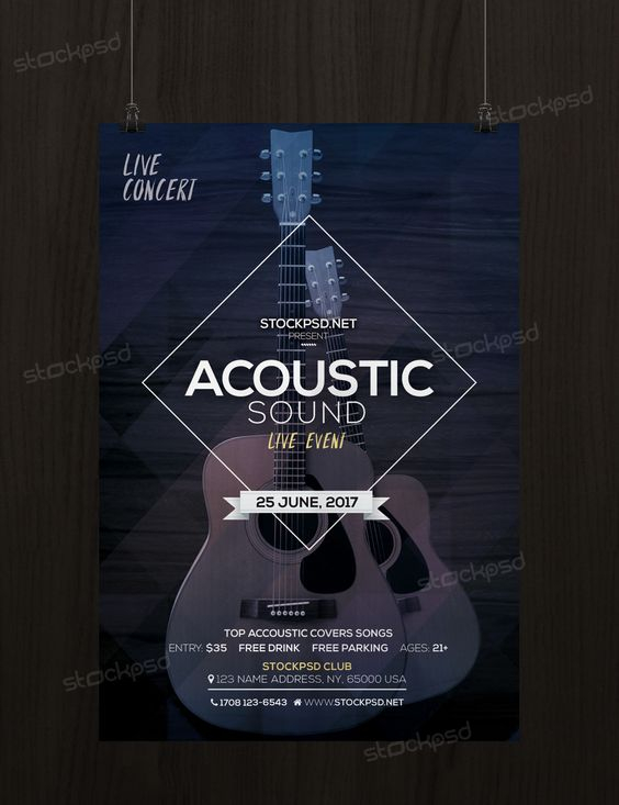 Acoustic Sound  Free Psd Flyer Template  Psd Flyers