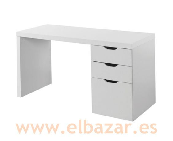 Mesa escritorio brombes 3 cajones color blanco escritorio pinterest mesas y colores - Mesa escritorio con cajones ...