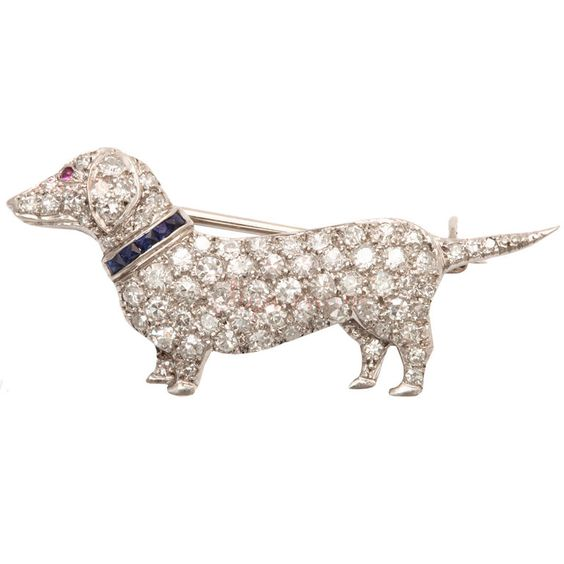 CARTIER Art Deco Diamond Dachshund Dog Brooch