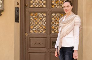 Spring on 74th Street Triangle Scarf by Lisa Hoffman knit in SCFY's Celine & FDC's Superior.