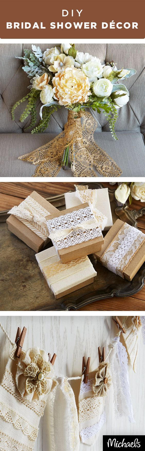 Use burlap and lace to create sweet bridal shower décor ...