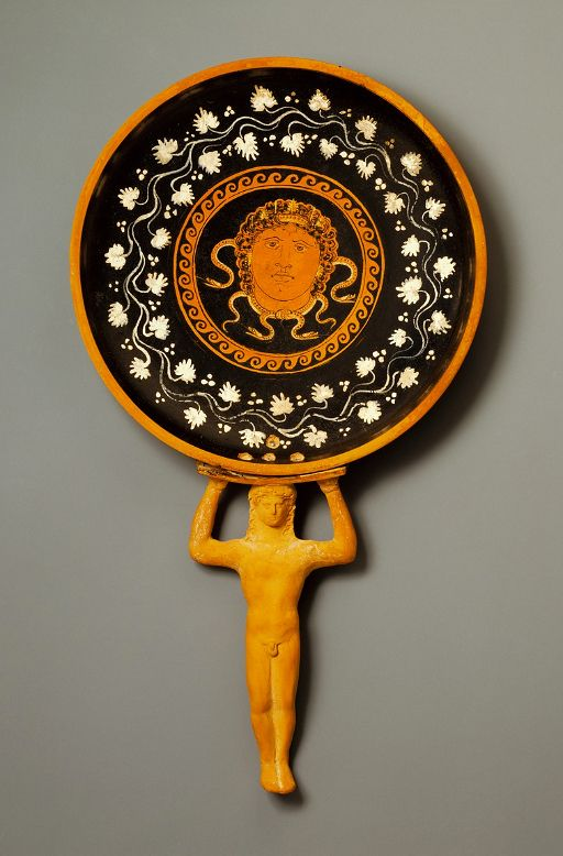 Bowl with Medusa. Attributed to the Circle of the Lycurgus Painter, Greek, Apulia, South Italy, about 350 B.C. Photo: Bruce White, The J. Paul Getty Museum.