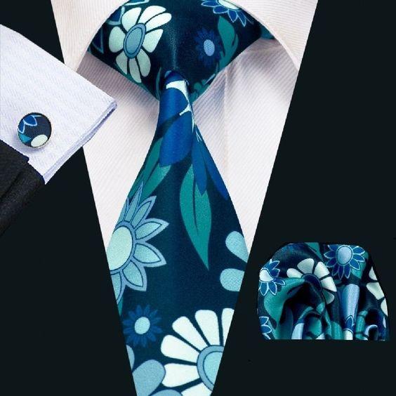 SN-1223 New Stylish Floral Prints Mens Tie Hanky Cufflinks Black&Blue Silk Ties