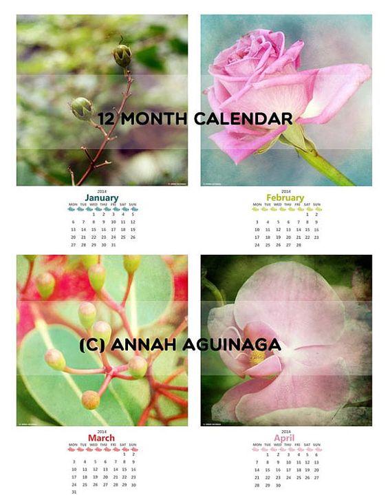 2014 Floral Photography  Desk  Calendar  13 prints by pugsnpigs, $18.00