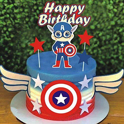 Shami Happy Birthday Cake Topper Cartoon Theme Cake Topper For Hero Theme Birthday Cartoon Party Decoration Suppliers Captain America Cake Captain America Birthday Cake Birthday Cake Toppers