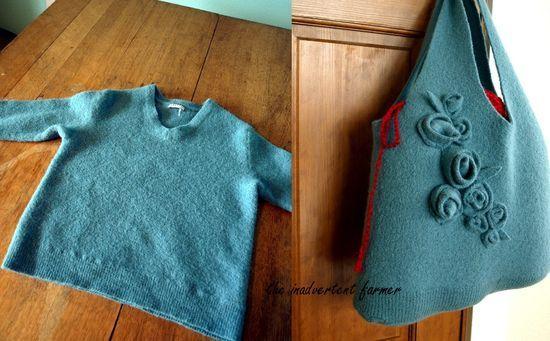 Upcycle wool sweater to handbag
