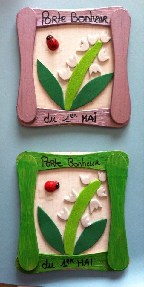 Petits cadres porte bonheur 2016 - le fond en carton, peinture, bâtonnets de glace, mousse.