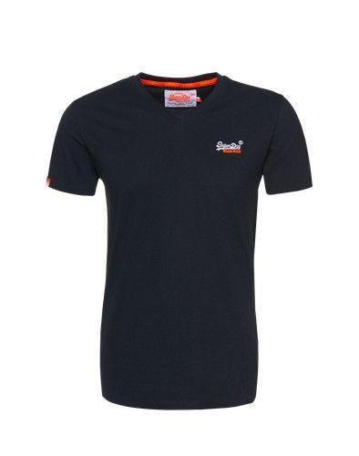 Superdry T-Shirt mit V-Ausschnitt marine