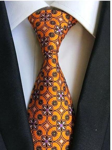 Blue Tie Gold and Orange Patterned Handmade 100/% Silk Wedding Necktie 8cm Width