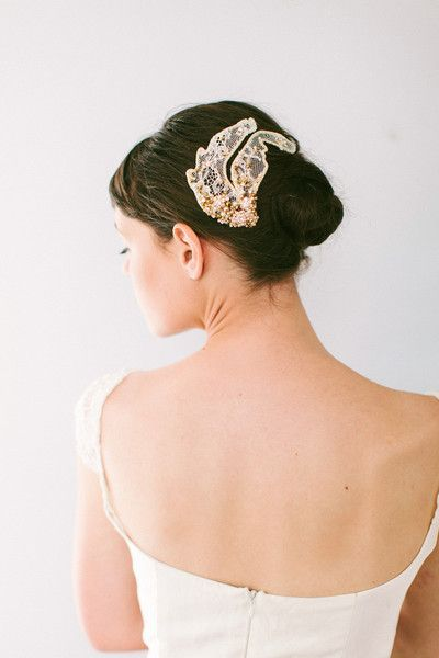 "Absolutely love the jeweled lace in the hair!Lace ""Wings"" with Pearls and Crystals"