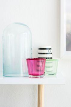 Glas mit Lebensmittelfarbe + Serviettenkleber einfärben, Tutorial