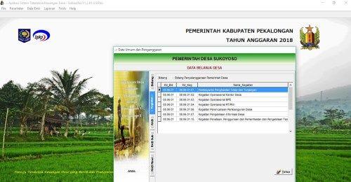 Siskeudes 2018 Kabupaten Pekalongan Desa Sokoyoso Pedesaan Pemerintah Anggar