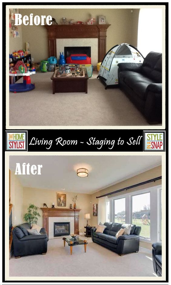 "Before and After: LIThis living room is a great example of ""how we live"" and ""how we stage"" are different. The Before Photo looks like a normal house with young children. The After Photo is how it went on the market. They got it sold in one week! - See more at: http://styleinasnap.com/blog/#sthash.UBzFi97d.6pPo6D3z.dpufving Room – Staging to Sell:"