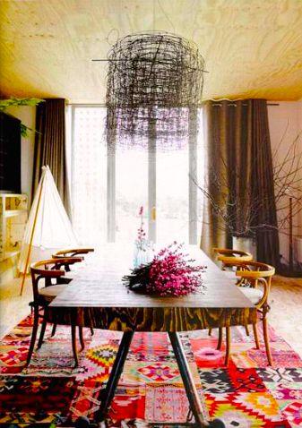 Kilim rug, dining room in Vogue Living Australia Jan/Feb 2010
