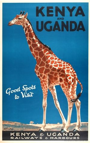 Vintage Travel Poster - Kenya and Uganda - Giraffe -  by Kealey - 1920s.