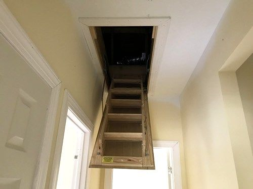 Installing The Pull Down Attic Ladder With Images Attic Renovation Attic Remodel Attic Design