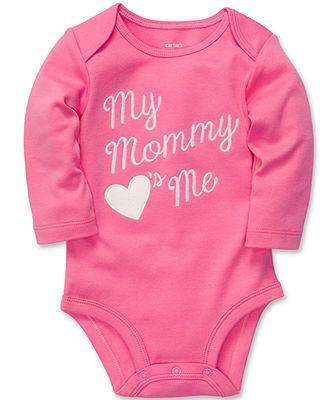 Carter's Baby Bodysuit, Baby Girls Long-Sleeved Slogan Bodysuit