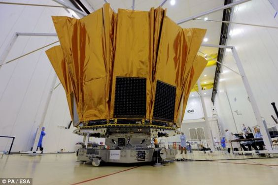 Gaia (pictured) slowly, two telescopes will sweep across the entire sky and simultaneously focus their light on the largest digital camera ever flown in space. The flood of data produced by the mission will be enough to fill more than 30,000 CD ROMs