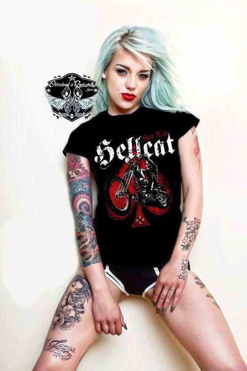 Hotrod Hellcat T-Shirts Skull Biker.Oldschool, Tattoo, Pin up, Custom Styles