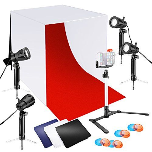 Neewer 24x24 Inches Tabletop Photography Lightbox Light Tent Lighting Kit With Led Light Color Backdrops Gel Filters Stand With Cellphone Clip For Iphone X 8 Light Box Photography Tent Lighting Table