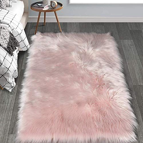 Soft Fluffy Plain Faux Fur Non Slip  Rugs Cheap Small Rectangle Mats