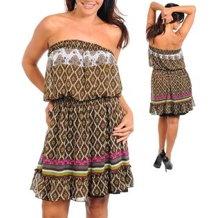 Stanzino Women's Strapless printed Plus Size Brown Tube Dress