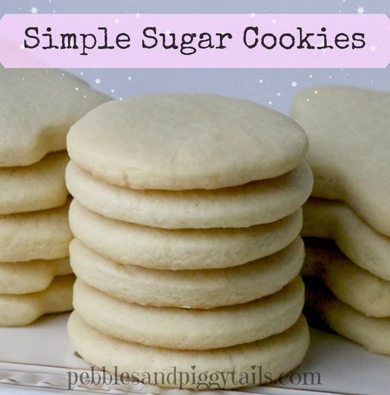 Pebbles and Piggytails: Simple Sugar Cookies. No weird ingredients. No chilling dough. Just simple and quick for a soft, buttery sugar cookie.