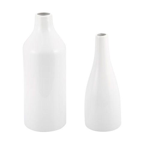 2 White Vases Anko Com White Vases Clear Glass Vases Vases Decor
