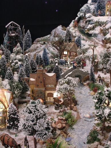 Christmas village bebe 39 love the village design and background mountains and valley 39 s - Decor village noel miniature ...