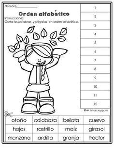 Otoño Hojas De Trabajo Fall Literacy Packet In Spanish Hojas De Trabajo Del Alfabeto Español De Escuela Primaria Actividades De Vocabulario