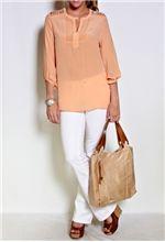 Long Sleeve Silk Top w/Cutout Shoulders & Slv Hdw