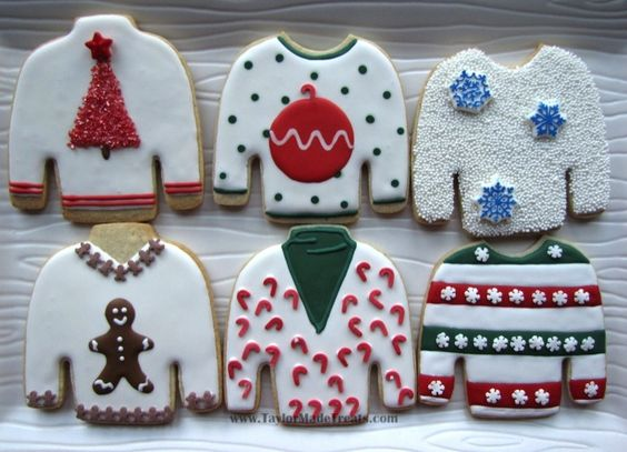 "Love these ""ugly sweater"" cookies by www.TaylorMadeTreats.com!"