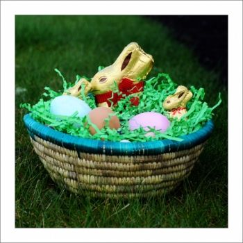 Handmade Korah Basket with color accents *easter items not included* at the Shopping Mall, $20.00 (USD)